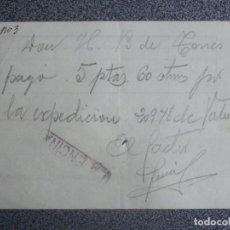 Sellos: PEQUEÑO DOCUMENTO CON SELLO DE LA ESTACIÓN DE LA ENCINA EN SALAMANCA ENVÍO A VALENCIA. Lote 198617540