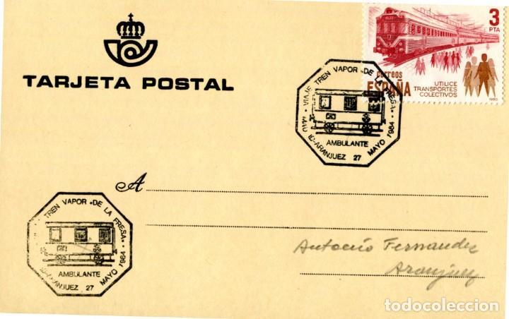 TRENES AMBULANTE VIAJE TREN VAPOR DE LA FRESA MADRID-ARANJUEZ 1984. RARO MATASELLOS FERROCARRIL EN T (Sellos - Temáticas - Trenes y Tranvias)