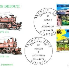 Sellos: 1979 REPUBLIQUE DE DJIBOUTI MATASELLO PRIMER DIA LOCOMOTORA TEMA TRANSPORTE TRENES. Lote 203594680