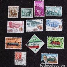 Sellos: LOTE 10 SELLOS USADOS DE ESPAÑA. TEMA FERROCARRILES. Lote 203893651