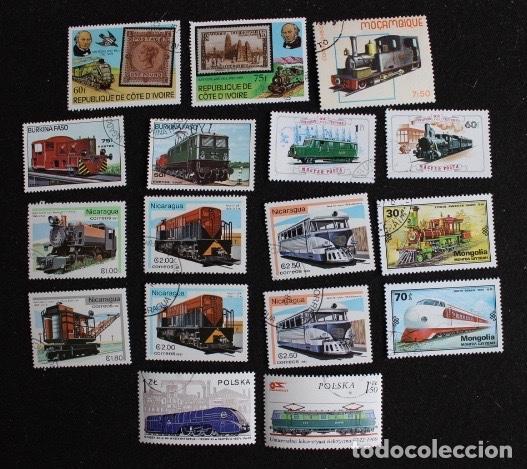 LOTE 17 SELLOS VARIOS PAÍSES FERROCARRILES TRENES Y TRANVÍAS (Sellos - Temáticas - Trenes y Tranvias)