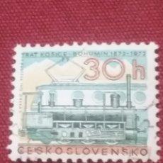 Timbres: SELLO R. CHECOSLOVAQUIA MTDOS/1972/I CENT./FERROCARRILES/VIAS/TRENES/LOCOMOTORA/METRO/. Lote 204098607