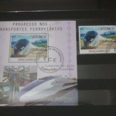Sellos: HB+SELLOS MOZAMBIQUE MTDA/2010/TRENES/ELECTRICOS/FERROCARRILES/LOCOMOTOR/ESTACIÓN/ARQUITECTURA/TRANS. Lote 204826753