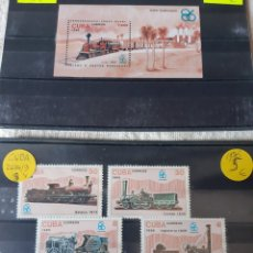 Sellos: 1986 CUBA TRENES SERIE 2694/99 Y HOJAS BLOQUE 94 NUEVO. Lote 205386443