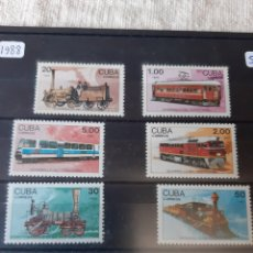 Sellos: CUBA SERIE COMPLETA PERFECTA TRENES AÑO 1988. Lote 205387983