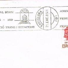 Sellos: AÑO 1981, TRENES Y ESTACIONES, EXPOSICION EN EL BORN (BARCELONA), RODILLO. Lote 206356990