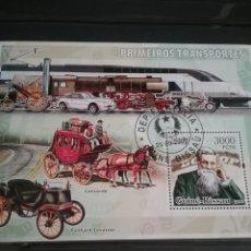 Sellos: HB R. GUINEA-BISSAU MTDAS/2009/TRANSPORTE/TRENES/CARRUAJE/CABALLOS/COCHES/CLASICOS/LOCOMOTORAS/DELIG. Lote 207179488