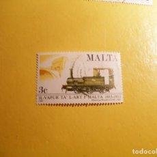 Sellos: MALTA 1983 - TRENES Y LOCOMOTORAS - TREN DE VAPOR .. Lote 207361067