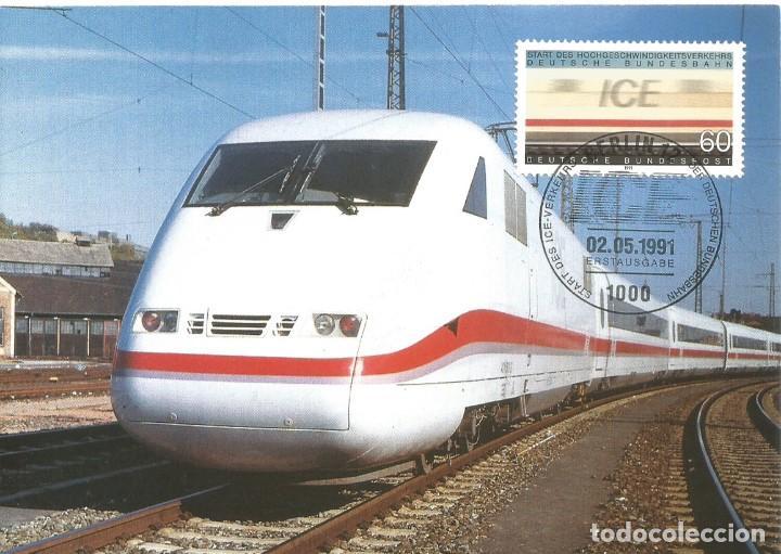 """ALEMANIA FEDERAL 1991. TEMA TRENES. TARJETA MÁXIMA TREN """"INTERCITYEXPRESS"""" (ICE) (Sellos - Temáticas - Trenes y Tranvias)"""