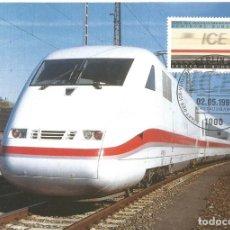 "Sellos: ALEMANIA FEDERAL 1991. TEMA TRENES. TARJETA MÁXIMA TREN ""INTERCITYEXPRESS"" (ICE). Lote 209166521"