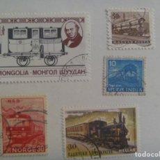 Sellos: LOTE DE 5 SELLOS DE TRENES ANTIGUOS: GRECIA, MONGOLIA, INDIA, NORUEGA Y HUNGRIA. Lote 209918138