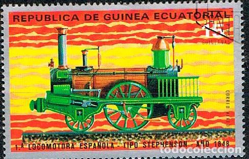 GUINEA ECUATORIAL Nº 257, 1ª LOCOMOTORA ESPAÑOLA. TIPO STEPHENSON, AÑO 1848. USADO (Sellos - Temáticas - Trenes y Tranvias)