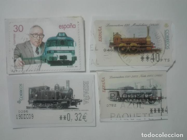 4 SELLOS DISTINTOS TRENES LOCOMOTORAS ETIQUETAS DE FRANQUEO ATM ESPAÑA CORREOS (Sellos - Temáticas - Trenes y Tranvias)