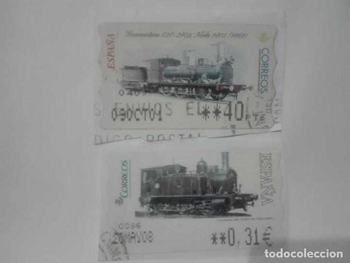 2 SELLOS DISTINTOS TRENES LOCOMOTORAS ETIQUETAS DE FRANQUEO ATM ESPAÑA CORREOS (Sellos - Temáticas - Trenes y Tranvias)