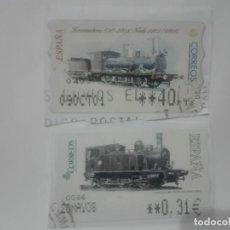 Sellos: 2 SELLOS DISTINTOS TRENES LOCOMOTORAS ETIQUETAS DE FRANQUEO ATM ESPAÑA CORREOS. Lote 213417002