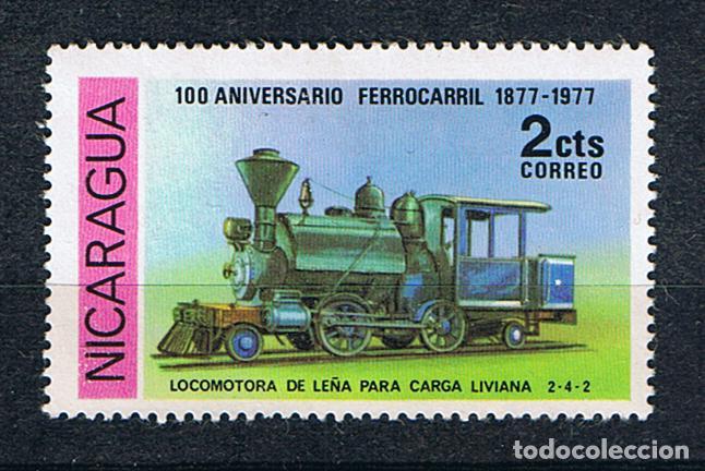 LOCOMOTORA DE LEÑA SELLO NICARAGUA 1978 ANIVERSARIO FERROCARRIL TRENES A VAPOR (Sellos - Temáticas - Trenes y Tranvias)