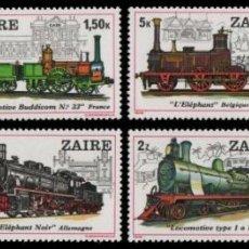 Sellos: ZAIRE 1980 IVERT 962/9 *** HISTORIA DE LOS FERROCARRILES - TRENES - LOCOMOTORAS. Lote 214641431