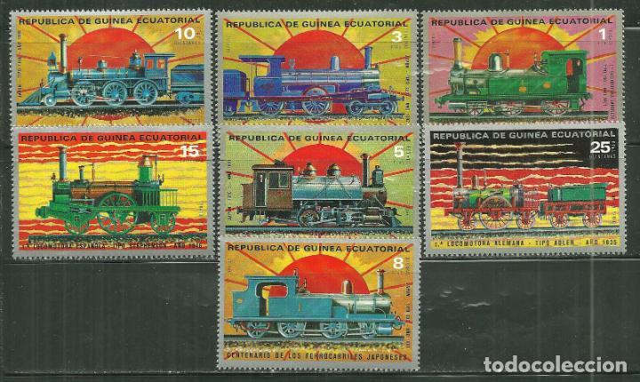 GUINEA ECUATORIAL 1972 IVERT 30 Y AEREO 15 *** CENTENARIO DEL FERROCARRIL JAPONES - TRENES (Sellos - Temáticas - Trenes y Tranvias)