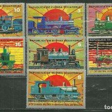 Sellos: GUINEA ECUATORIAL 1972 IVERT 30 Y AEREO 15 *** CENTENARIO DEL FERROCARRIL JAPONES - TRENES. Lote 214841532