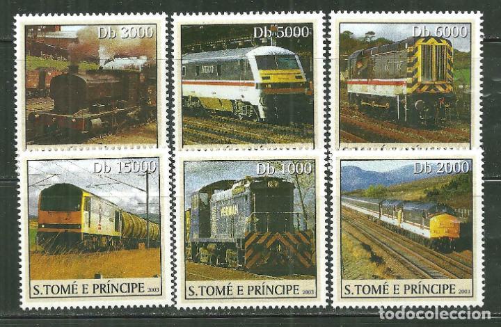 SANTO TOME & PRINCIPE 2003 IVERT 1548/53 *** TRENES - LOCOMOTORAS (Sellos - Temáticas - Trenes y Tranvias)