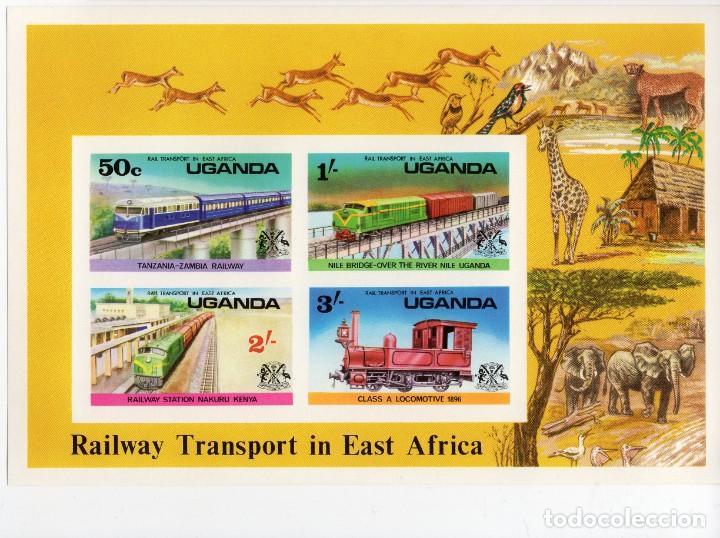 UGANDA/1976/MNH/SC#155A/ TRENES/ FERROCARRILES/ IMPERF (Sellos - Temáticas - Trenes y Tranvias)