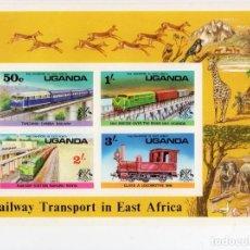 Sellos: UGANDA/1976/MNH/SC#155A/ TRENES/ FERROCARRILES/ IMPERF. Lote 215578328