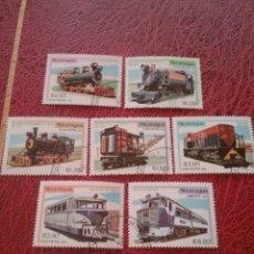 Sellos: SELLOS NICARAGUA MTDOS/1981/DESARROLLO/TRENES/LOCOMOTORAS/METRO/FERROCARRIL/VAPOR/ESPACION/VAGON/TRA. Lote 221361946