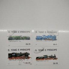 Sellos: 4 SELLOS TRENES S. TOME E PRINCIPE. Lote 221740536