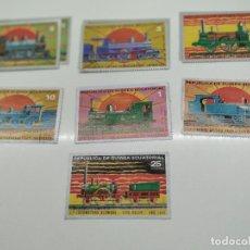 Sellos: 7 SELLOS TRENES REPUBLICA GUINEA ECUATORIAL. Lote 221845122