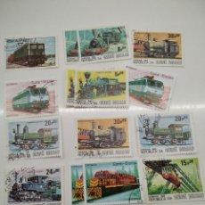 Sellos: 12 SELLOS TRENES GUINEA BISSAU. Lote 221845716