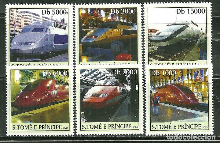 SANTO TOME & PRINCIPE 2003 IVERT 1536/41 *** TRENES DE ALTA VELOCIDAD (Sellos - Temáticas - Trenes y Tranvias)
