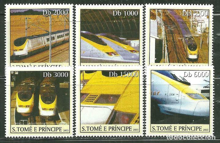 SANTO TOME & PRINCIPE 2003 IVERT 1542/47 *** TRENES DE ALTA VELOCIDAD - EL EUROSTAR (Sellos - Temáticas - Trenes y Tranvias)