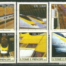 Sellos: SANTO TOME & PRINCIPE 2003 IVERT 1542/47 *** TRENES DE ALTA VELOCIDAD - EL EUROSTAR. Lote 222801030