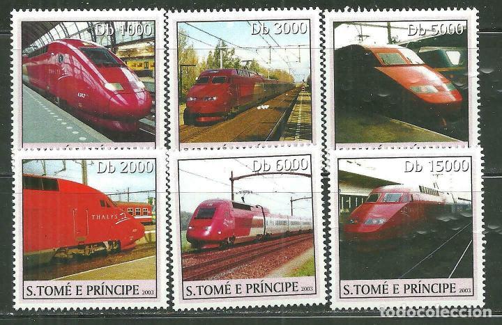 SANTO TOME & PRINCIPE 2003 IVERT 1548/53 *** TRENES DE ALTA VELOCIDAD - EL THHALYS (Sellos - Temáticas - Trenes y Tranvias)