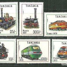 Sellos: TANZANIA 1991 IVERT 789/94 *** LOCOMOTORAS DEL MUNDO - TRENES. Lote 222823927