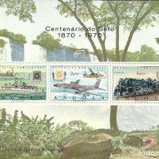 Sellos: HOJITA DEL CENTENARIO SELLO DE ANGOLA , TRENES,AVIONES,BARCOS , NUEVA. Lote 226781771