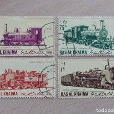 Sellos: SELLOS RAS AL KHAIMA - CUATRO - LOCMOTORAS - TRENES FERROCARRIL. Lote 228013050
