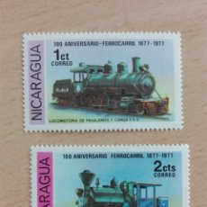 Sellos: SELLO NUEVO FERROCARRIL TRENES - NICARAGUA 1 Y 2 CT - LOCOMOTORA. Lote 228014515