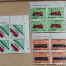 Sellos: SELLO NUEVO FERROCARRIL TREN - CONGRESO MALAGA 1982 - BLOQUES DE CUATRO CON Nº LATERAL PLIEGO. Lote 228015655