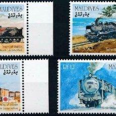 Sellos: MALDIVAS 1991 IVERT 1364/7 *** EXPOSICIÓN FILATELICA INTERNACIONAL - TRENES JAPÓN - LOCOMOTORAS (II). Lote 232123080