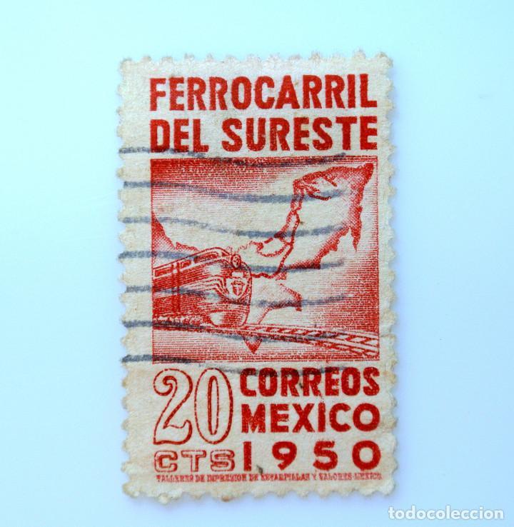 SELLO POSTAL MÉXICO 1950, 20 CTS, INAUGURACION FERROCARRIL DEL SURESTE, USADO (Sellos - Temáticas - Trenes y Tranvias)