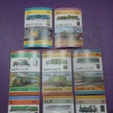 Timbres: SELLOS SANTA LUCIA NUEVOS/1986/LOCOMOTORAS/TRENES/FERROCARRILES/MÁQUINA/VAPOR/TRANSPORTE//. Lote 233309305