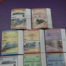 Timbres: SELLOS I. NEVIS NUEVOS/1983/LOCOMOTORAS/TRENES/TRANSPORTE/FERROCARRILES/ESTACIONES/PAISAJES/MAQUINA/. Lote 233313535