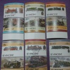 Timbres: SELLOS I. SAN VICENTE NUEVOS/1985/TRENES/LOCOMOTORAS/FERROCARRILES/TRANVIA/TRANSPORTE/MAQUINA/VAPOR/. Lote 233434550