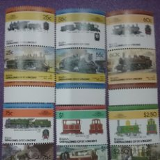 Timbres: SELLOS BEQUIA (GRANADINAS/VICENTE) NUEVOS/1985/LOCOMOTORAS/TRENES/FERRICAERILES/ESTACIONES/TRANSPORT. Lote 233443590