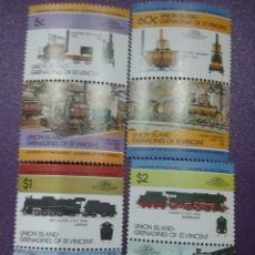 Sellos: SELLOS ISLA UNION (G/S.V) NUEVOS/1984/LOCOMOTORAS/TRENES/FERROCARRILES/MAQUINA/VAPOR/ESTACION/ANTIGU. Lote 233539820