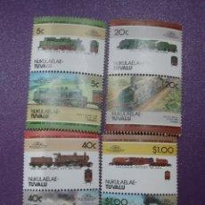 Timbres: SELLOS NUKULAELAE-TUVALU NUEVOS/1984/TRENES/LOCOMOTORAS/TRANSPORTE/VIAS/TRANVIAS/TRENES/TRANSPORTE=. Lote 233554785
