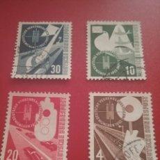 Sellos: SELLOS ALEMANIA R. FEDERAL USADOS/1953/EXPOSICION/TRANSPORTE/BARCOS/AVIONES/AVIACION/PALOMA/TREN/COC. Lote 235924245