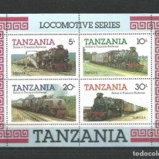 Sellos: TANZANIA. HOJA .BLOQUE TEMA TRENES.. NUEVA. Lote 238663895