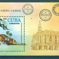 Sellos: 🚩 CUBA 1980 LOCOMOTIVES - THE 7TH NATIONAL STAMP EXHIBITION NG - RAILWAYS, THE TRAINS, LOC. Lote 241338790